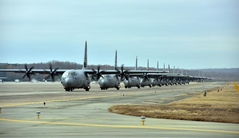 Line of C 130 Aircrafts